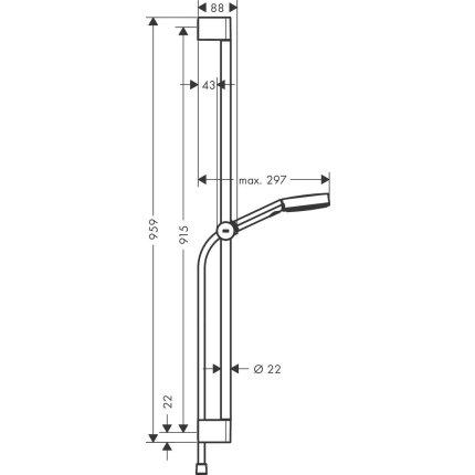 Set de dus Hansgrohe Pulsify Select 105 Relaxation, cu 3 tipuri de jet si bara de 0.9 m, negru mat