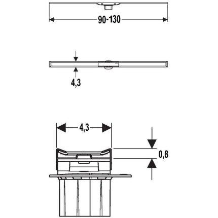 Capac rigola de pardoseala Geberit CleanLine20 lungime 90-130 cm, finisaj metal negru-metal periat