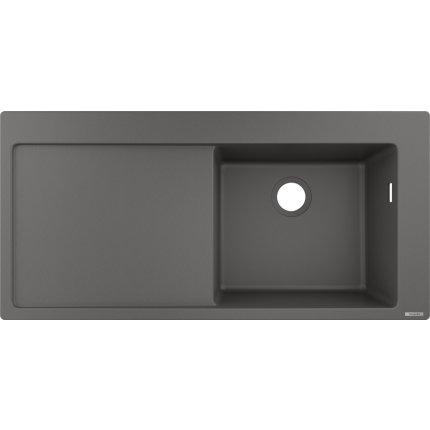Chiuveta bucatarie Hansgrohe S514-F450 SilicaTec 450, 51x105x19cm, picurator stanga, stone grey