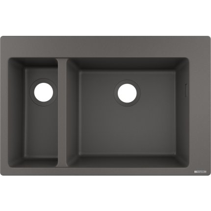 Chiuveta bucatarie Hansgrohe S510-F635 SilicaTec 180/450, cu 2 cuve inegale, 51x77x19cm, stone grey