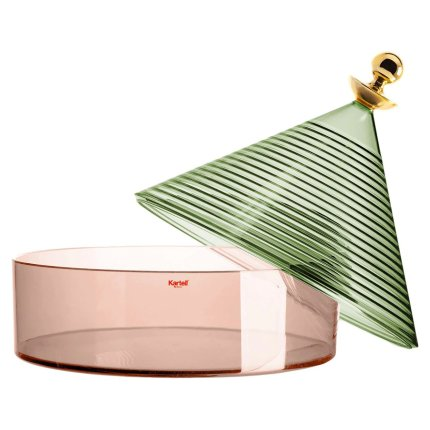 Bol cu capac Kartell Trullo design Fabio Novembre, d25cm, h27cm, verde-roz