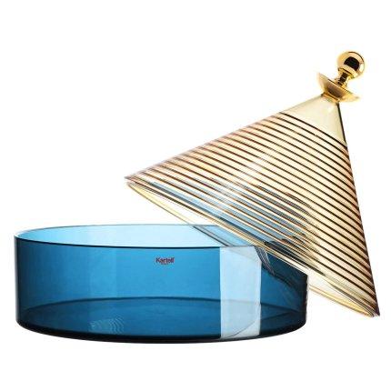 Bol cu capac Kartell Trullo design Fabio Novembre, d25cm, h27cm, galben-albastru