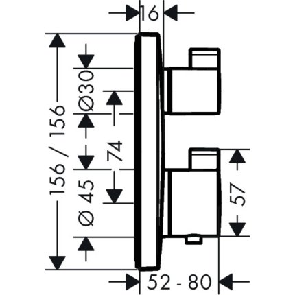 Baterie cada termostatata Hansgrohe Ecostat E cu montaj incastrat,necesita corp ingropat