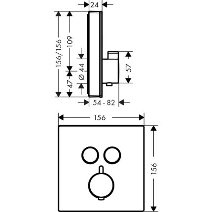 Baterie cada termostatata Hansgrohe Select Glass negru-crom, montaj incastrat, necesita corp ingropat