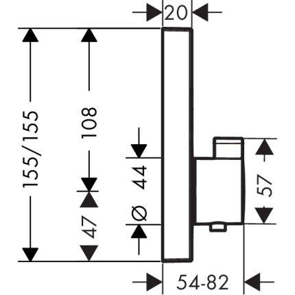 Baterie cada termostatata Hansgrohe Select negru mat, montaj incastrat, necesita corp ingropat