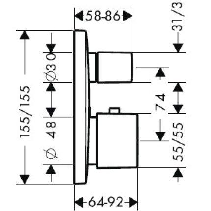 Baterie cada termostatata Hansgrohe PuraVida alb/crom, montaj incastrat, necesita corp ingropat