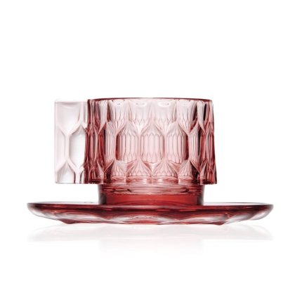 Ceasca si farfuriuta Kartell Jellies Family, design Patricia Urquiola, roz transparent