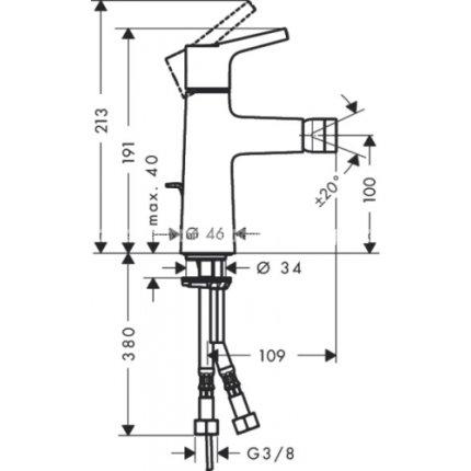 Baterie bideu Hansgrohe Talis S cu ventil pop-up