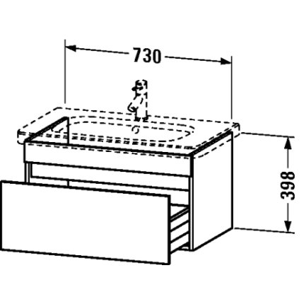 Dulap baza Duravit DuraStyle 73x44.8cm, sertar cu inchidere lenta,castan inchis