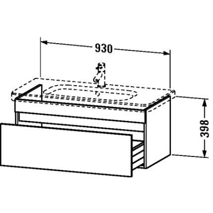 Dulap baza Duravit DuraStyle 93x44.8cm, sertar cu inchidere lenta, castan inchis
