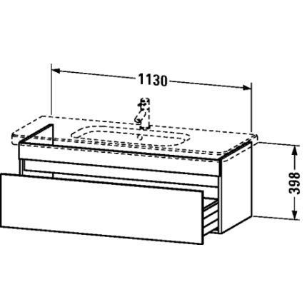 Dulap baza Duravit DuraStyle 113x44.8cm, sertar cu inchidere lenta, taupe mat