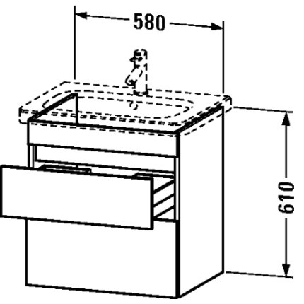 Dulap baza Duravit DuraStyle 58x44.8cm, 2 sertare cu inchidere lenta, castan inchis