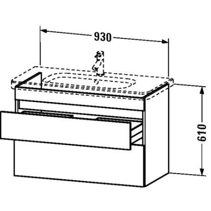 Dulap baza Duravit DuraStyle 93x44.8cm, 2 sertare cu inchidere lenta, castan inchis