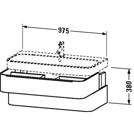 Dulap baza Duravit Happy D.2 97.5x48cm, 2 sertare inchidere lenta, bej decor linen