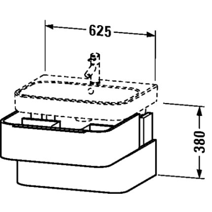 Dulap baza Duravit Happy D.2 62.5x48cm, 2 sertare inchidere lenta, stejar inchis