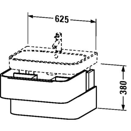 Dulap baza Duravit Happy D.2 62.5x48cm, 2 sertare inchidere lenta, alb lucios