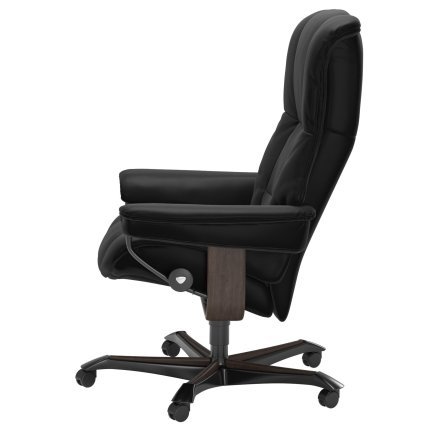 Scaun birou Stressless Mayfair Office, cadru wenge, tapiterie piele Batik Black