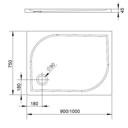 Cadita de dus dreptunghiulara Radaway Delos D 100x75cm