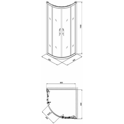 Set cabina de dus semirotunda Kolo Geo6 80x80cm + cadita de dus Standard Plus