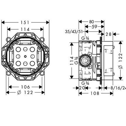 Corp incastrat Hansgrohe IBox universal pentru baterii incastrate