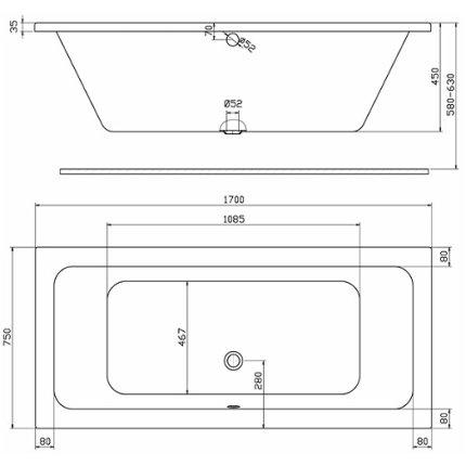 Set cada rectangulara Kolo Modo Duo 170x75cm + paravan cada Niven 70x140cm cu un element mobil, stanga