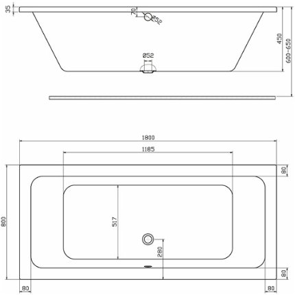 Set cada rectangulara Kolo Modo Duo 180x80cm, acril + paravan cada Niven 70x140cm cu un element mobil, orientare dreapta
