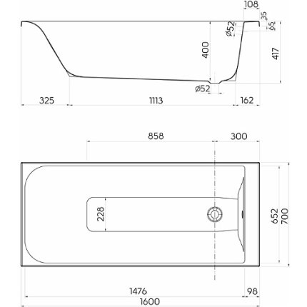 Cada baie rectangulara Kolo Rekord 160x70cm, acril