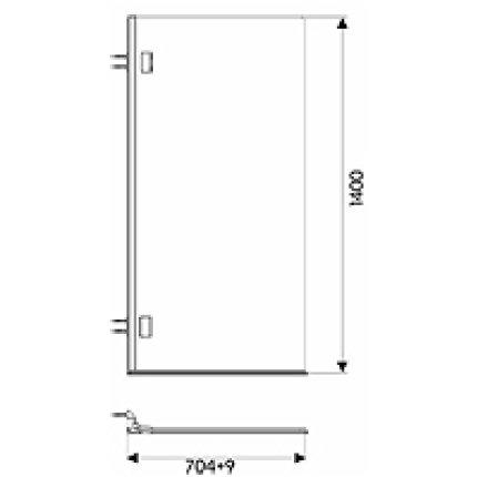 Set cada rectangulara Kolo Modo 170x75cm + paravan cada Niven 70x140cm cu un element mobil, dreapta