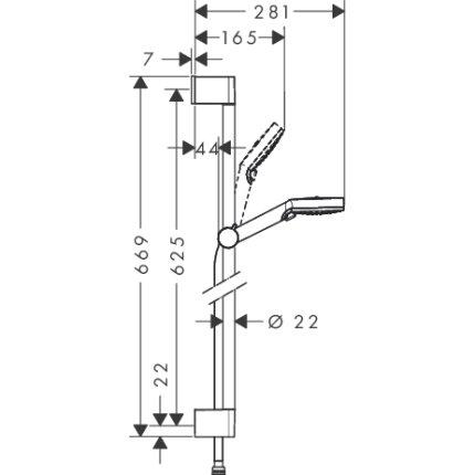 Baterie cada termostatata Hansgrohe Ecostat 1001 CL cu set de dus Crometta New 100 Vario