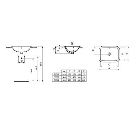 Lavoar Ideal Standard Connect Rectangular 50x38cm, fara orificiu baterie, montare in blat