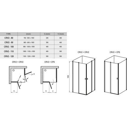 Usa de dus batanta Ravak Concept Chrome CRV2-120, 120cm, alb