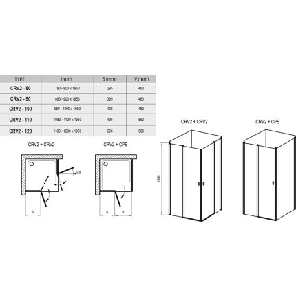 Usa de dus batanta Ravak Concept Chrome CRV2-90, 90cm, alb