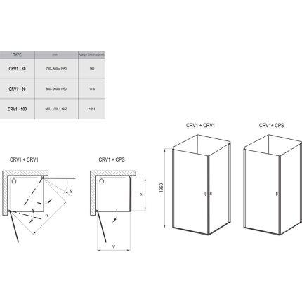 Usa de dus Ravak Concept Chrome CRV1-100, 100cm, crom mat