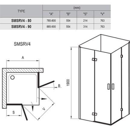Cabina de dus patrata Ravak SmartLine SMSRV4 80x80cm, crom