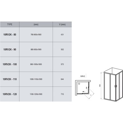 Usa culisanta cu parte fixa Ravak Concept 10° 10RV2K-100, 100cm, crom lucios