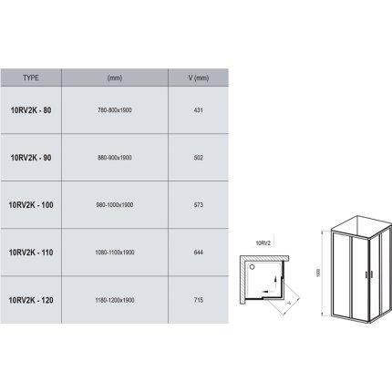 Usa culisanta cu parte fixa Ravak Concept 10° 10RV2K-90, 90cm, crom lucios