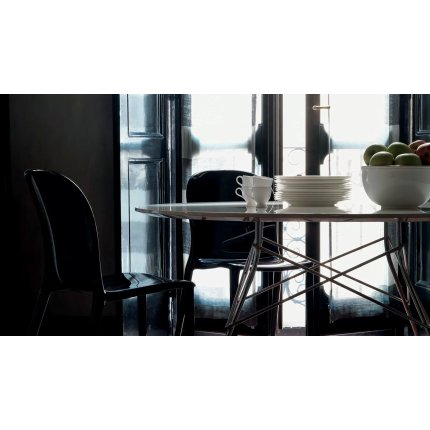 Masa ovala Kartell Glossy design Antonio Citterio & Oliver Low, 120x194cm, alb