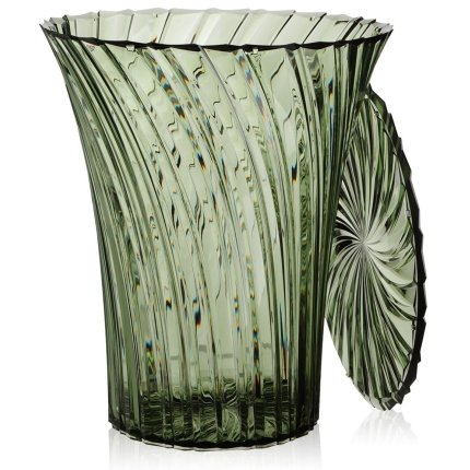 Masuta Kartell Sparkle design Tokujin Yoshioka, diametru 38cm, verde salvie transparent