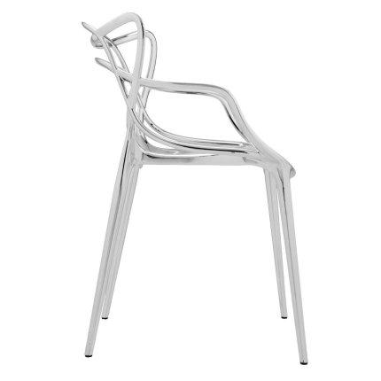 Scaun Kartell Masters design Philippe Starck & Eugeni Quitllet, crom metalizat