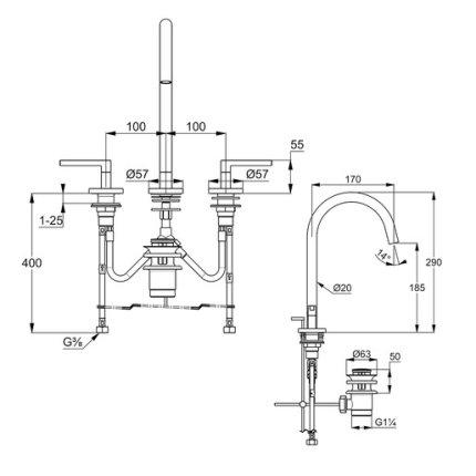 Baterie lavoar Kludi Nova Fonte Puristic din 3 elemente, ventil pop-up, negru mat