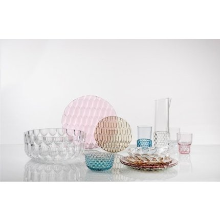 Ceasca si farfuriuta Kartell Jellies Family, design Patricia Urquiola, albastru transparent