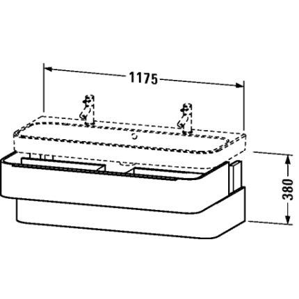 Dulap baza Duravit Happy D.2 117.5x48cm, 2 sertare inchidere lenta, alb lucios
