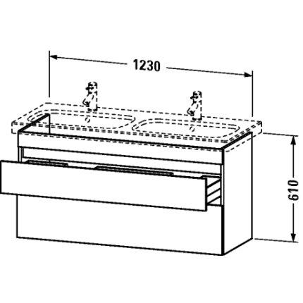 Dulap baza Duravit DuraStyle 123x44.8cm, 2 sertare cu inchidere lenta, castan inchis