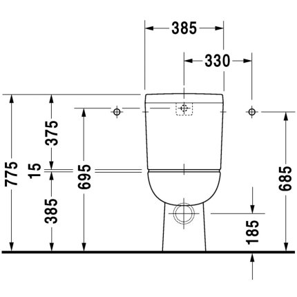 Vas wc Duravit D-Code back-to-wall 65x35cm
