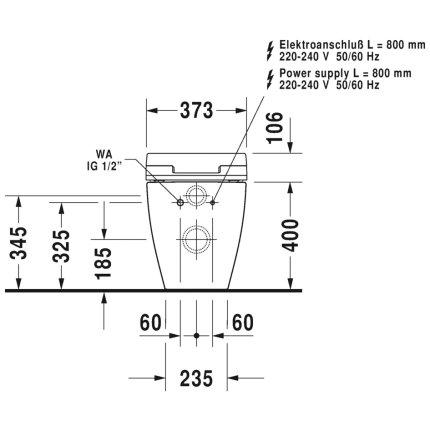 Vas WC Duravit ME by Starck back-to-wall, 60x37cm, pentru rezervor ingropat, pentru capac cu functie bideu SensoWash, finisaj WonderGliss