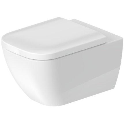 Set vas WC suspendat Duravit Happy D.2 Rimless cu finisaj WonderGliss si capac inchidere lenta