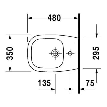 Bideu suspendat Duravit D-Code 48x35cm
