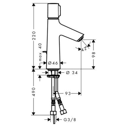 Baterie lavoar Hansgrohe Talis Select S 100, ventil pop-up