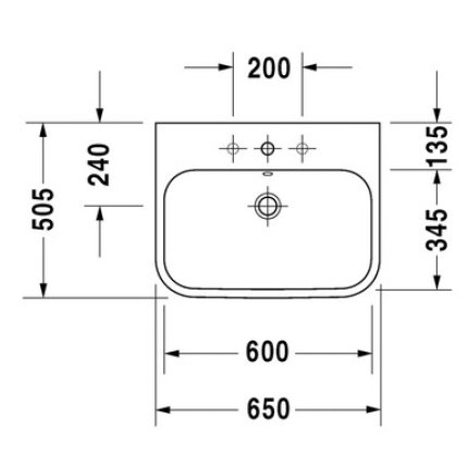 Lavoar Duravit Happy D.2 65x48cm, montare pe mobilier