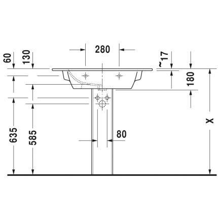Lavoar Duravit ME by Starck 83x49cm, montare pe mobilier